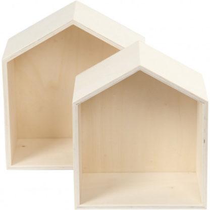 Bogkasser, hus, H: 22,5+25 cm, B: 19,5+22,5 cm, krydsfiner, 2stk., dyb