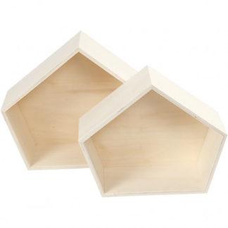 Bogkasser, irregulær pentagon, H: 22+26 cm, B: 26,5+31,5 cm, krydsfine