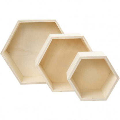 Bogkasser, sekskantet, H: 14,8+19+24,2 cm, dybde 10 cm, krydsfiner, 3s
