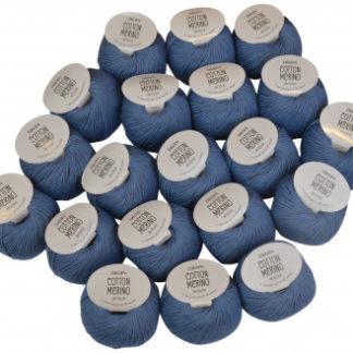 Drops Cotton Merino Garnpakke Unicolor 16 Jeansblå - 20 stk