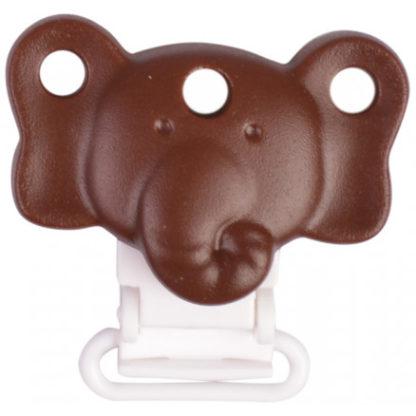 Infinity Hearts Seleclips Silikone Elefant Brun 4,5x3cm - 1 stk
