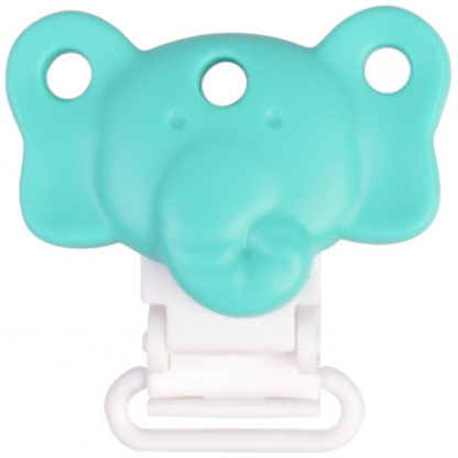 Infinity Hearts Seleclips Silikone Elefant Turkis 4,5x3cm - 1 stk
