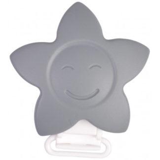 Infinity Hearts Seleclips Silikone Stjerne Grå 5x5cm - 1 stk