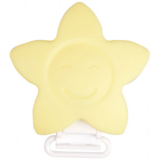 Infinity Hearts Seleclips Silikone Stjerne Pastel gul 5x5cm - 1 stk