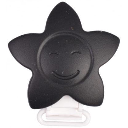 Infinity Hearts Seleclips Silikone Stjerne Sort 5x5cm - 1 stk