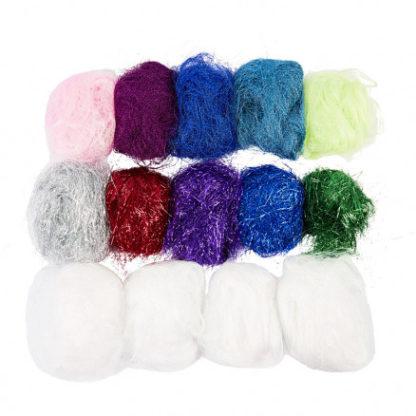 Plastfibre, ass. farver, 500g