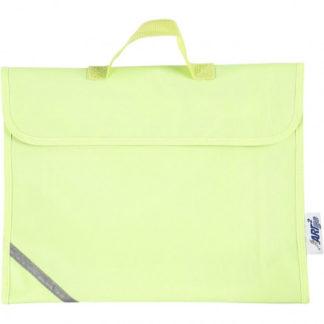 Skoletaske, str. 36x29 cm, dybde 9 cm, fluorescerende gul, 1stk.