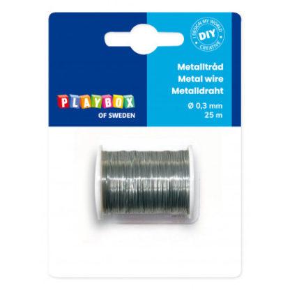 Playbox Metaltråd/Metalwire Sølv 0,3mm 25m